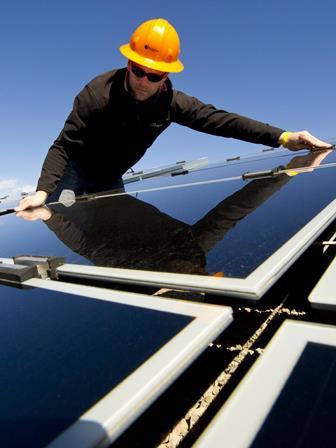 Engineer working on solar energy trend
