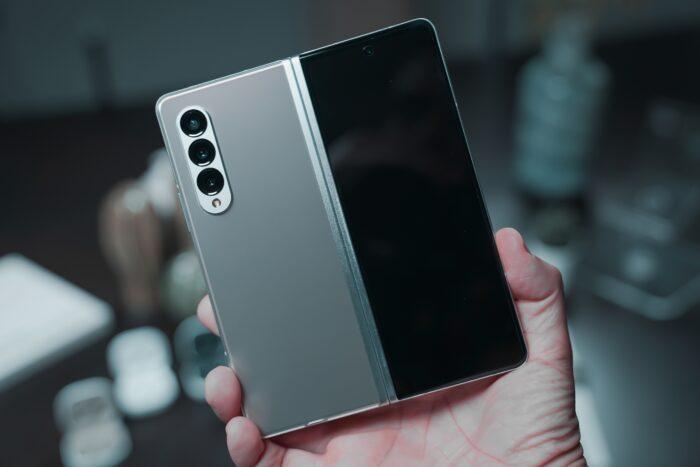 Man holding Samsung foldable phone